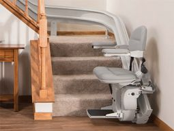 Bruno Elite Curved Stair Lift 2110 for sale from HomeTown Mobility.  Sales and Installation