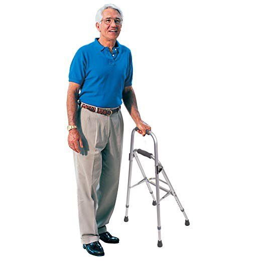 Side Step Folding Walker Adjustable Height by Drive with 300 lbs. Weight Capacity