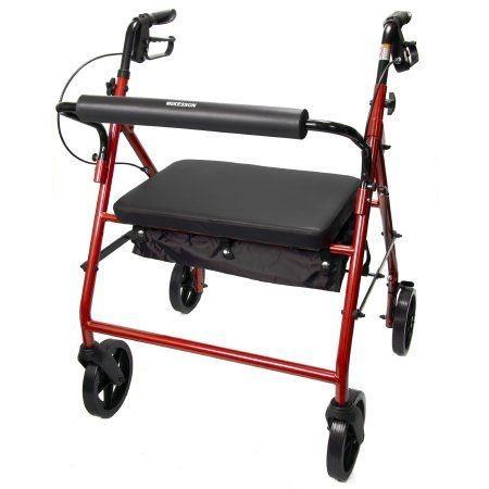 Bariatric 4 Wheel Rollator McKesson Folding Steel Frame
