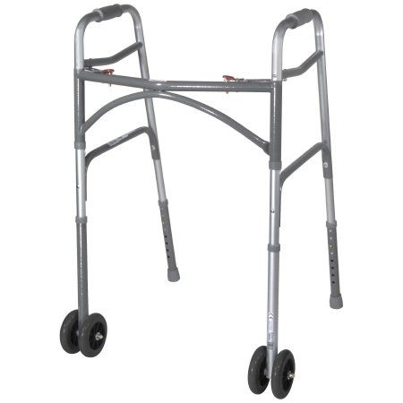 Bariatric Folding Walker Adjustable Height McKesson Steel Frame 500 lbs Weight Capacity