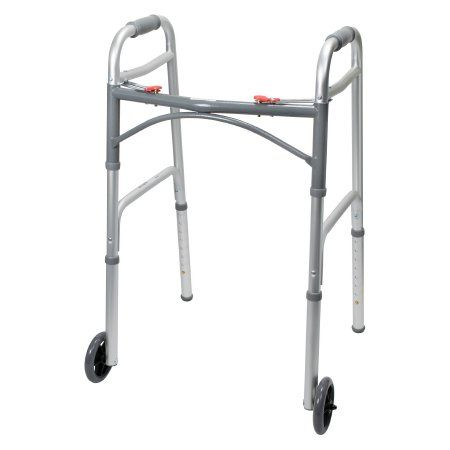 Folding Walker with 5 inch front wheels by McKesson 350lb Capacity